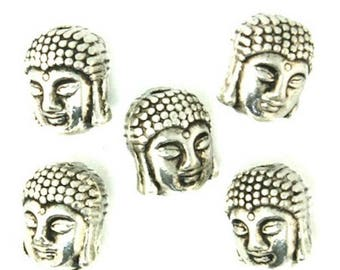 5 antique Buddha engraved silver plated metal beads