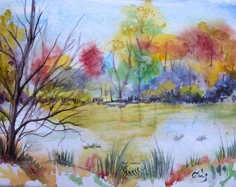 Original watercolor by the River, it's autumn already