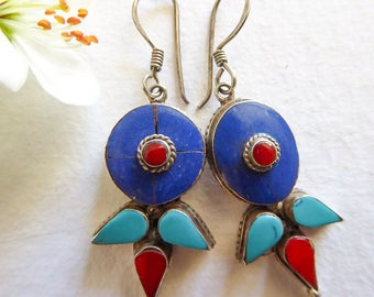 Earrings style oriental, ethnic, graphics, Tibetan, three colors of Egypt