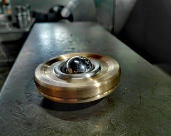 "Big Spinning Top UFO ""Tetris"" - 2 materials - Bronze&Aluminium"
