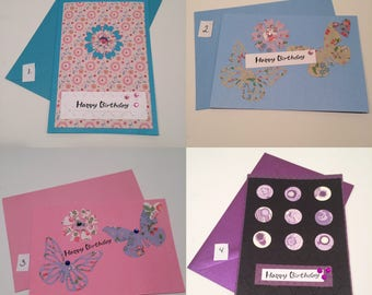 Birthday card / A6 / hand made left blank inside / bykarinbuchnielsen