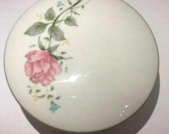 Royal Seoul candy box vintage 1970's romantic rose jewelry box. Old porcelain box