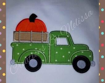 Fall Applique- Truck with Pumpkin/ Boys Fall Applique shirt/ Pumpkin shirt/ Boys Pumpkin Shirt