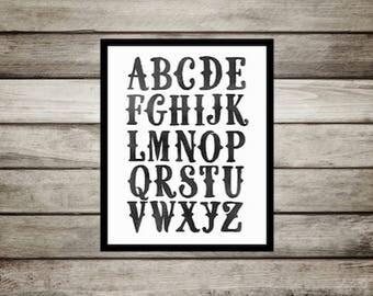 Black and white nursery, Gray, watercolor, Nursery,ABC, Nursery Decor, Wall Art, Nursery Print, Alphabet, nursery, playroom,Printable,modern