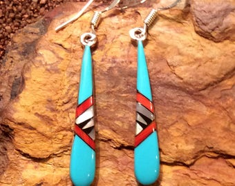 Native American Jewelry Sterling Silver Turquoise Inlaid Dangle Teardrop Shaped Earrings