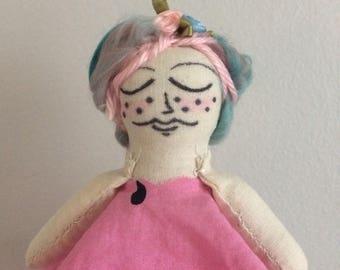 Mini art doll, cotton candy hair, watermelon dress, freckles