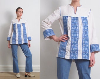60s White Embroidered Peasant Tunic / S