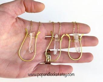 Quartz crystal, gold harp, pendant necklace, crystal harp necklace, healing crystal, horseshoe necklace, raw crystal necklace, brass pendant