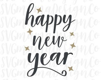 Happy New Year SVG Vector Image Cut File for Cricut and Silhouette