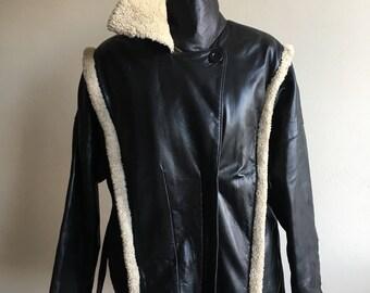 Vintage Sheepskin Leather Biker Jacket