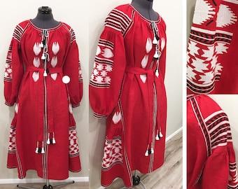 Vyshyvanka ukrainian embroidered dress Linen Boho Style Etnic Folk Embroidery Red dresses
