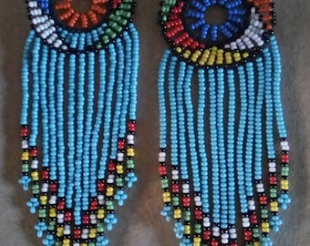 African Maasai Beaded Earrings | Light Blue Zulu Beaded Earrings | Dangle Earrings | Tribal Earrings | Elegant | Gift For Her