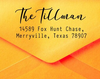 Custom Address Stamp, Return Address Stamp, Self Inking Stamp, Family Name Stamp, Personalized Address Stamp, Calligraphy Address Stamp Z50