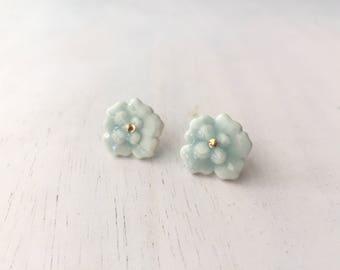 Porcelain Pansy Bloom Flower Gold Stud Earring // Ceramic Flower // Petals // Blue & Aqua // Gold filled // FREE SHIPPING