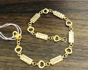 Fancy bars & hearts bracelet 22k 916 gold bracelet