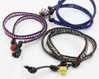Two-wrap bracelet with African bead