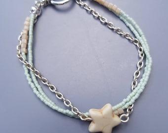 Bracelet light green with star