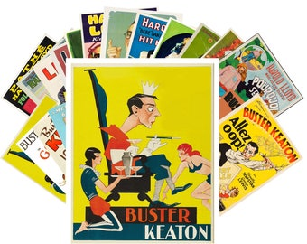 Postcard Pack (24 cards) Buster Keaton and Harold Lloyd Silent Film Vintage Movies Posters CC1021