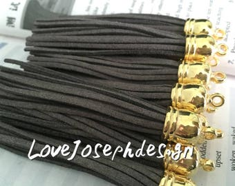 gold caps 20pieces 90mm gray suede leather gold plastic ear tassel charms