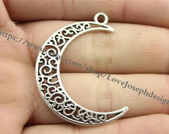 wholesale 100 Pieces /Lot Antique Silver Plated 22mmx30mm moon charms (#0903)