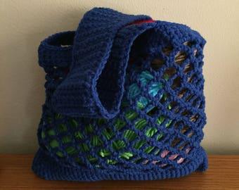 Beach Bag, Market Bag, Crochet, Reusable Grocery Bag, Mesh Tote, Blue, Hippie, Boho, Festival, Tote, Purse, Crochet Market Bag, Vegan, Reuse