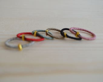 Set of six colorful stacking rings