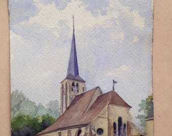 Old French Watercolor Original Church unframed unsigned on parchment paper