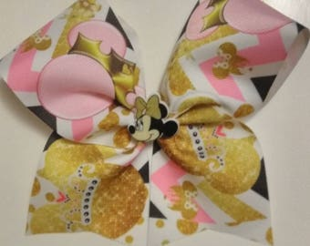 Minnie Mouse inspired hair bow, Minnie Mouse inspired cheer bow, princess Minnie cheer bow, pink & gold cheer bow, birthday bow