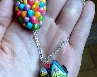 Home with balloons.house   from pixar. Up movie.Hand ilustrated hand sculptured necklace.pendant. silver 925.hand made.