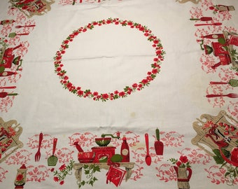 Vintage 1960s Cotton Tablecloth Red 48x52 square