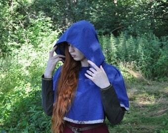 Viking hood; linen hood; medieval clothes; cloak; linen clothes