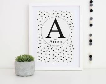 Personalised Initial Print, Nursery Wall Art, Monochrome Initial Print, Nursery Decor, Newborn Gift, Black and White Print, Nursery Art