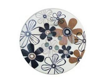 2 round buttons, sewing, scrapbooking, 5 cm flower II
