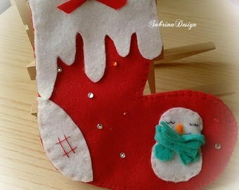 Epiphany sock felt Christmas tree ornament special miniature gift