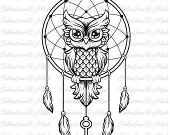 Dreamcatcher svg owl Dxf Png Eps Files Vector owl clipart woodland animal print Digital Download cutting file svg for silhouette