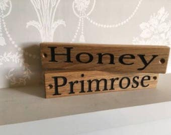 Bespoke solid oak stable door signs with engraved and hand painted black letters.