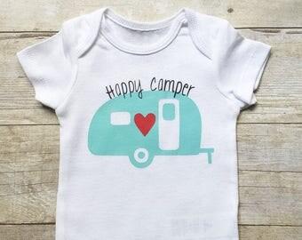 UNISEX HAPPY CAMPER Onesie, Baby Boy Onesie, Baby Girl Onesie, Newborn Onesie, Retro Camper Onesie