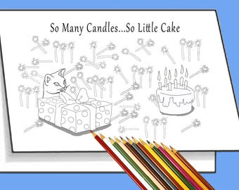 Birthday Card You're Gonna Need a Bigger Cake. Print & Color Digi Card. Create Unique Personalized Greeting Cards. Coloring, Arts, crafts.