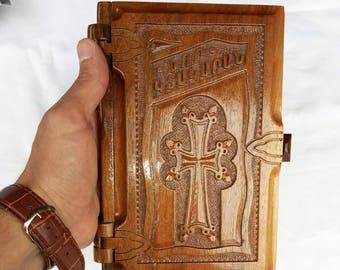 """Hand Carved Walnut Wood Armenian New Testament Bible Nor ktakaran 7.7"""" 573 pages Armenian NT wood NT wood cover armenian new testament"""