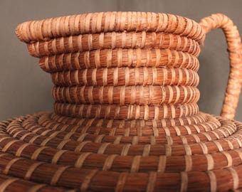 Vintage Handwoven Reed Basket in a Jug Shape. c.1965