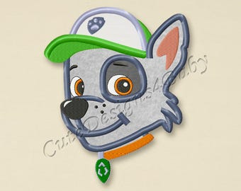 Paw Patrol Rocky head applique embroidery design, Paw Patrol Machine Embroidery Designs, Embroidery designs for baby, Instant download #012