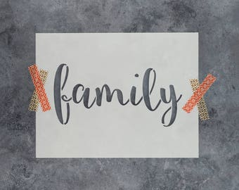 Family Stencil - Reusable DIY Craft Stencils of Family Sign Text