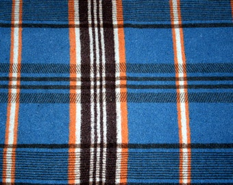 Original 50s Plaid, Wolldecke, kariert, blau, orange