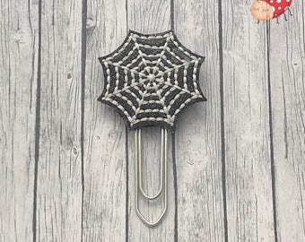 Spider web -Planner clip - Paper clip - Stationery - UK seller - organiser accessories - bookmark - journal paper clip - glow in the dark