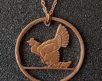 Hen with Chicks Irish Pingin Cut Coin Necklace Pendant