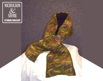 Olive Scarf with surface embellishment
