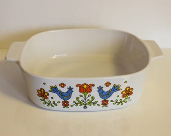Corning Ware Country Festival Blue Bird Large 2 QT Casserole Dish ~ Corningware Blue Birds and Flowers Baking Pan ~ Vintage Casserole Pan