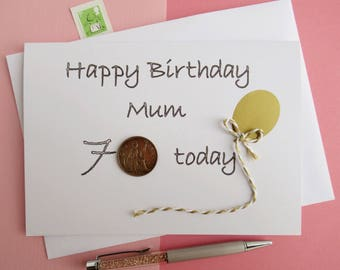 50th Birthday Card - 60th Birthday Card - 70th Birthday Card - 80th Birthday Card - 90th Birthday Card - 100th Birthday Card - Old Coins