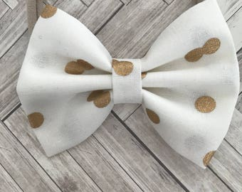 White and gold bow - nylon headband - gold polka dot - one size fits all - baby shower gift - newborn gift - baby girl