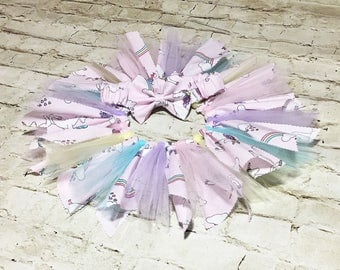 Little Fairy Set- Fabric Tutu; Unicorn Fabric Tutu Skirt; Fabric Tutu Skirt; Baby Tutu; Newborn Tutu; Infant Tutu; Birthday Tutu; Photo Prop